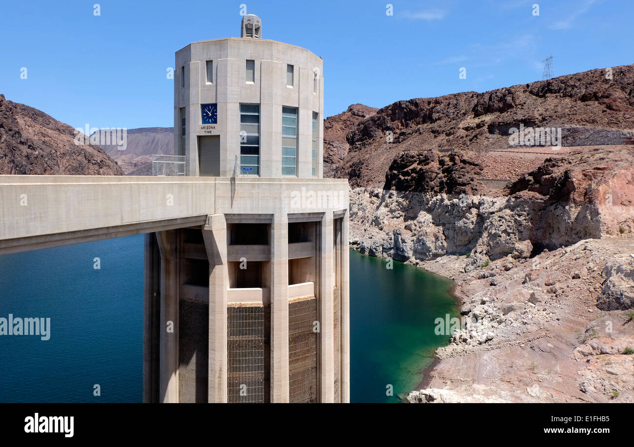 Columns that form part of the Hoover Dam, Boulder City, USA. It is ...