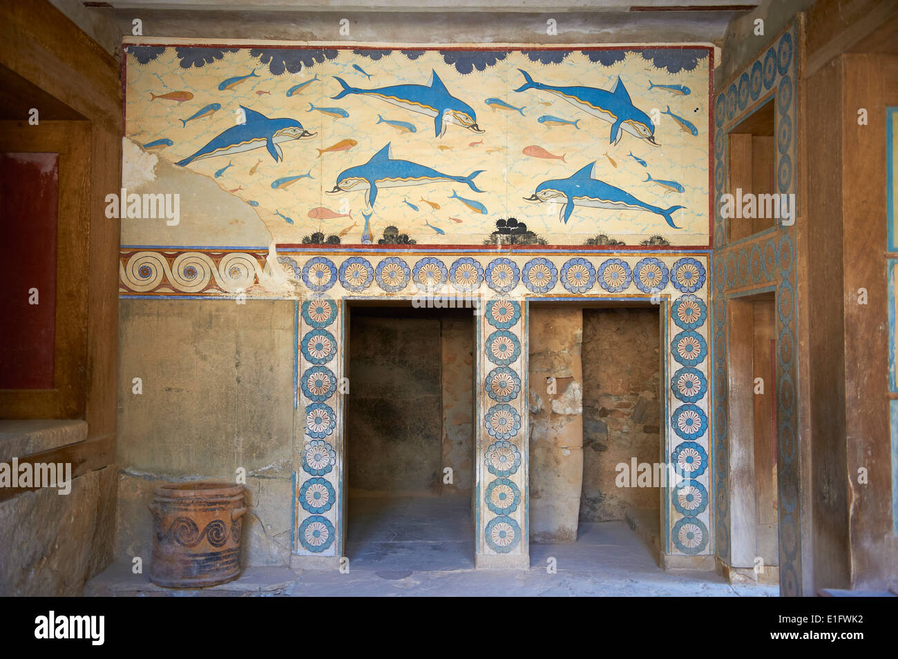 Greece crete island iraklion archeological site of for Dolphin mural knossos