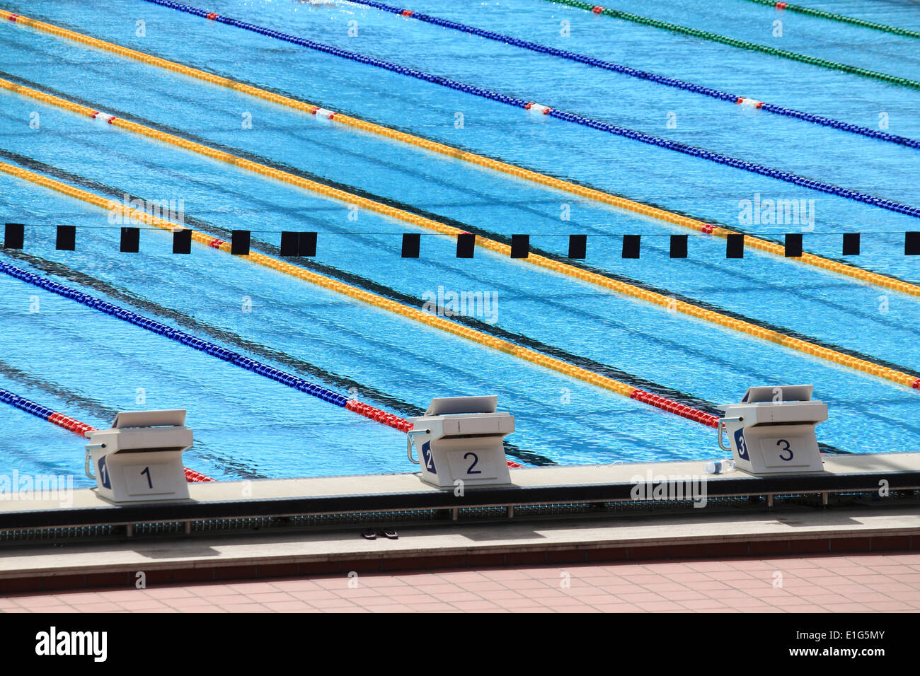 starting blocks in a olympic swimming pool - Olympic Swimming Starting Blocks