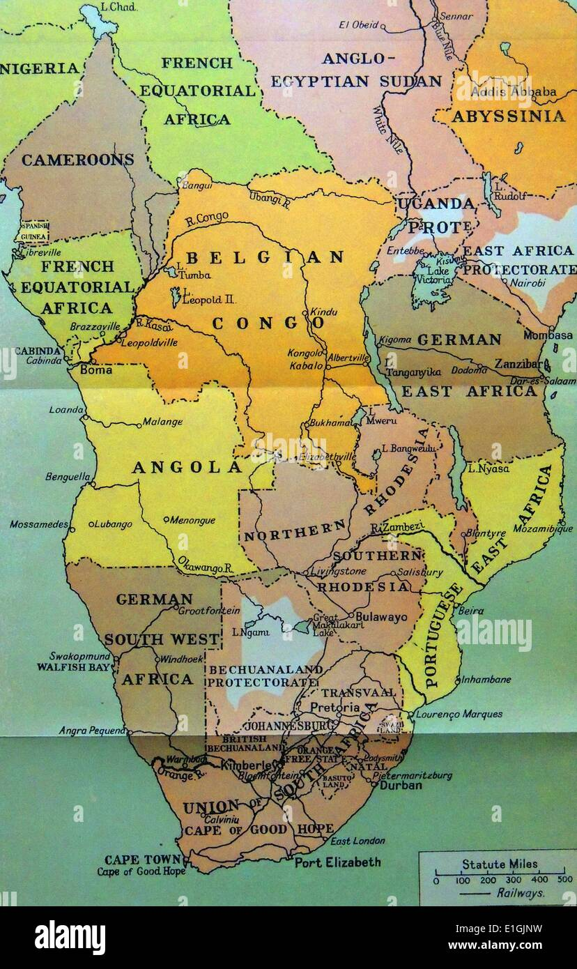 Map of central and Southern Africa in 1914 Stock Photo Royalty