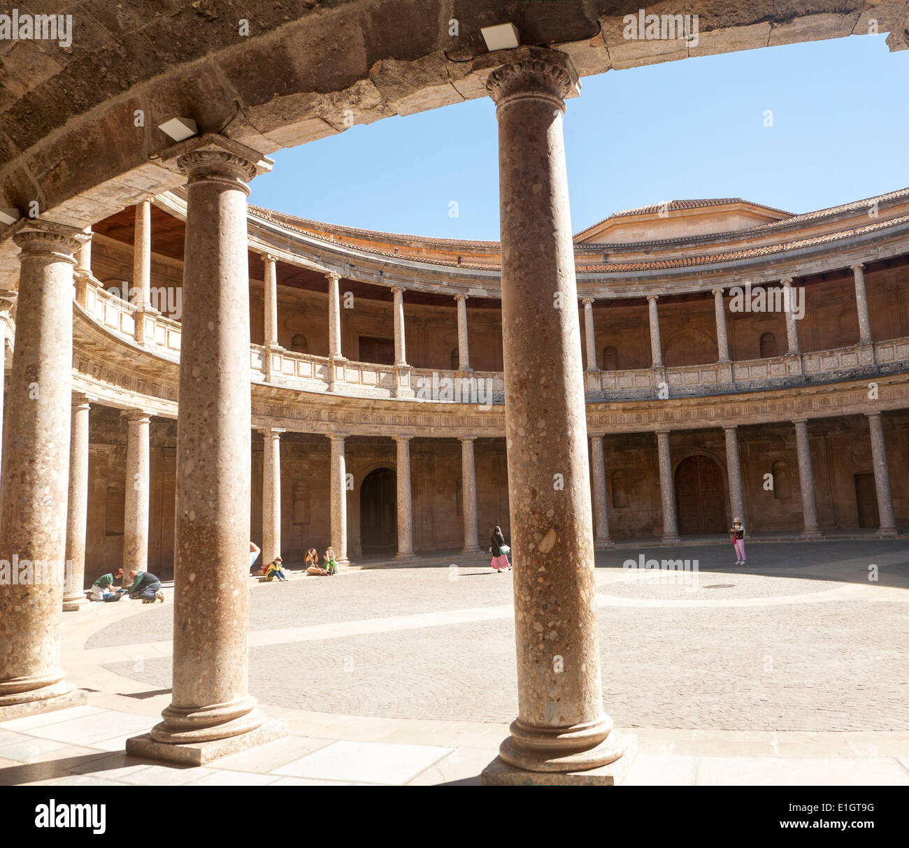 Courtyard inside the Palacio de Carlos V, Palace of Charles V Stock Photo, Ro...