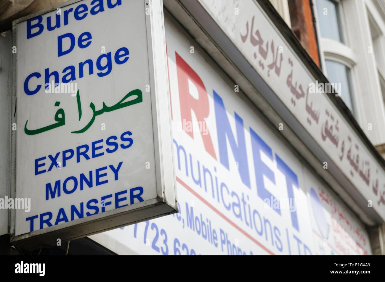 Bureau de Change Express money transfer in arabic Stock Photo