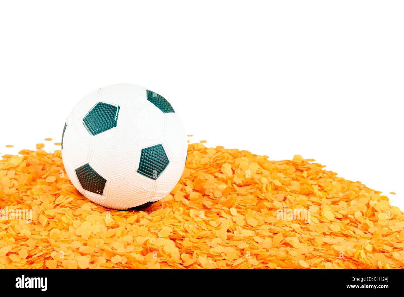 Soccer ball on orange confetti a symbol for hollands passion for soccer ball on orange confetti a symbol for hollands passion for football buycottarizona