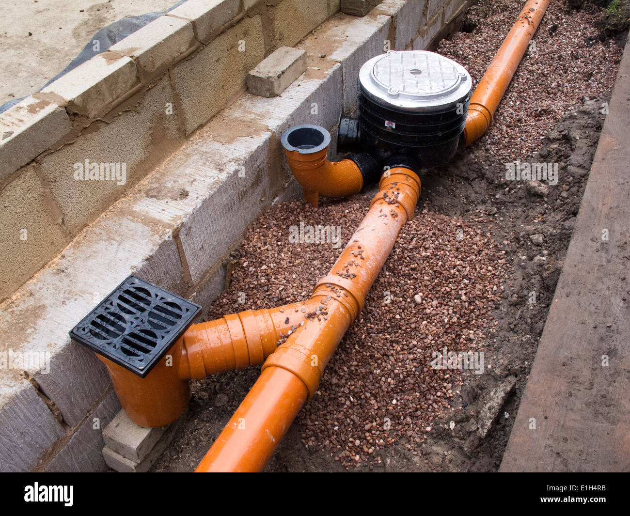 Home Water Filter >> self building house, drainage, drain pipe connection to gullies Stock Photo: 69833103 - Alamy