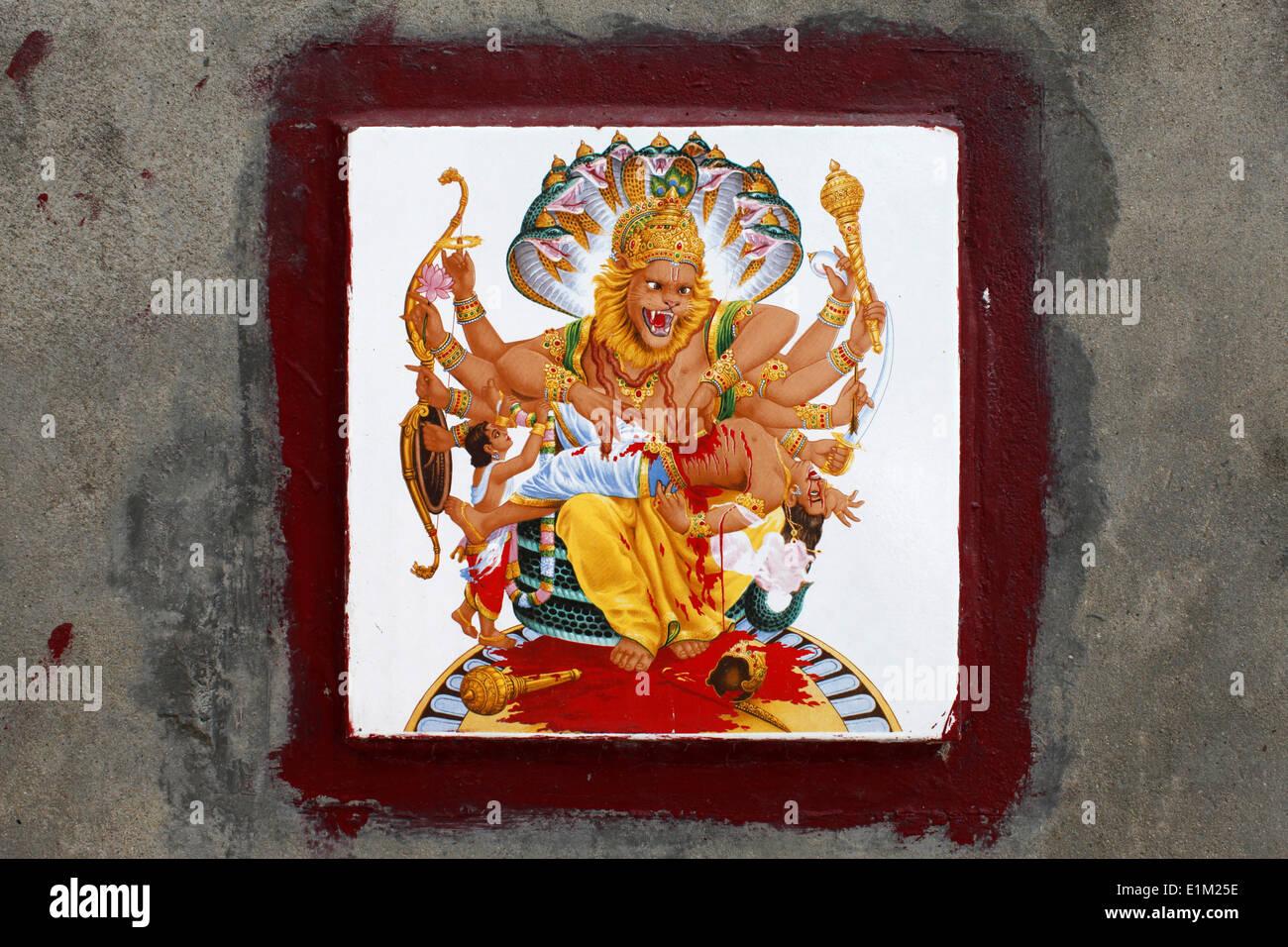 Mosaic on a bathing ghat depicting nara simha avatar of vishnu killing hiranyakashipu on