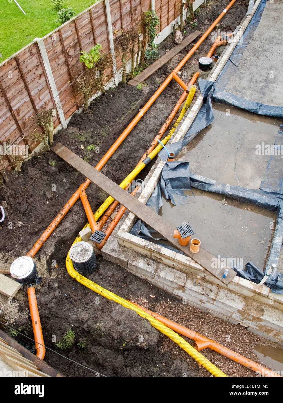 Self building house drainage pipes and yellow gas supply for Installing drainage pipe around house