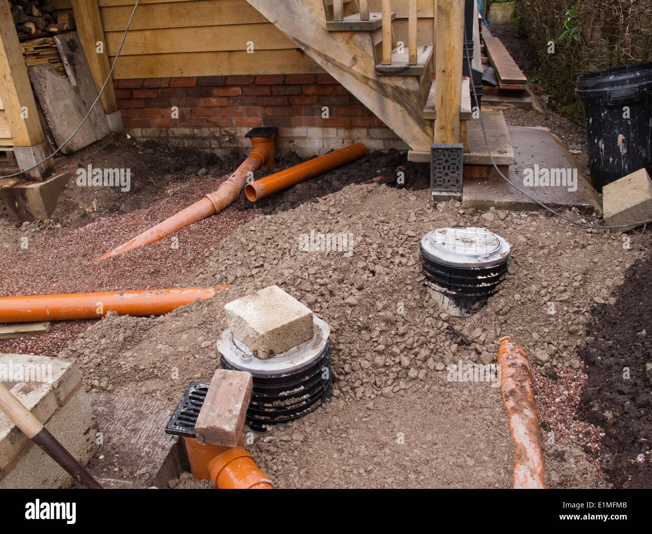 Self building house backfilling drainage channels with for Installing drainage pipe around house