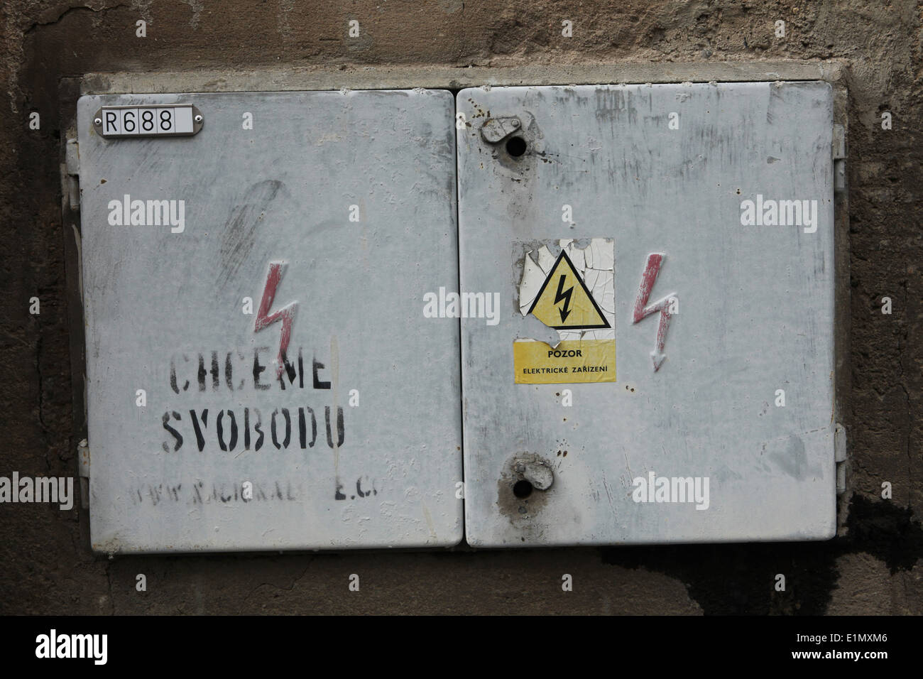 High voltage sign stock photos high voltage sign stock images alamy electric box with a high voltage sign and graffiti in czech we want freedom buycottarizona Images
