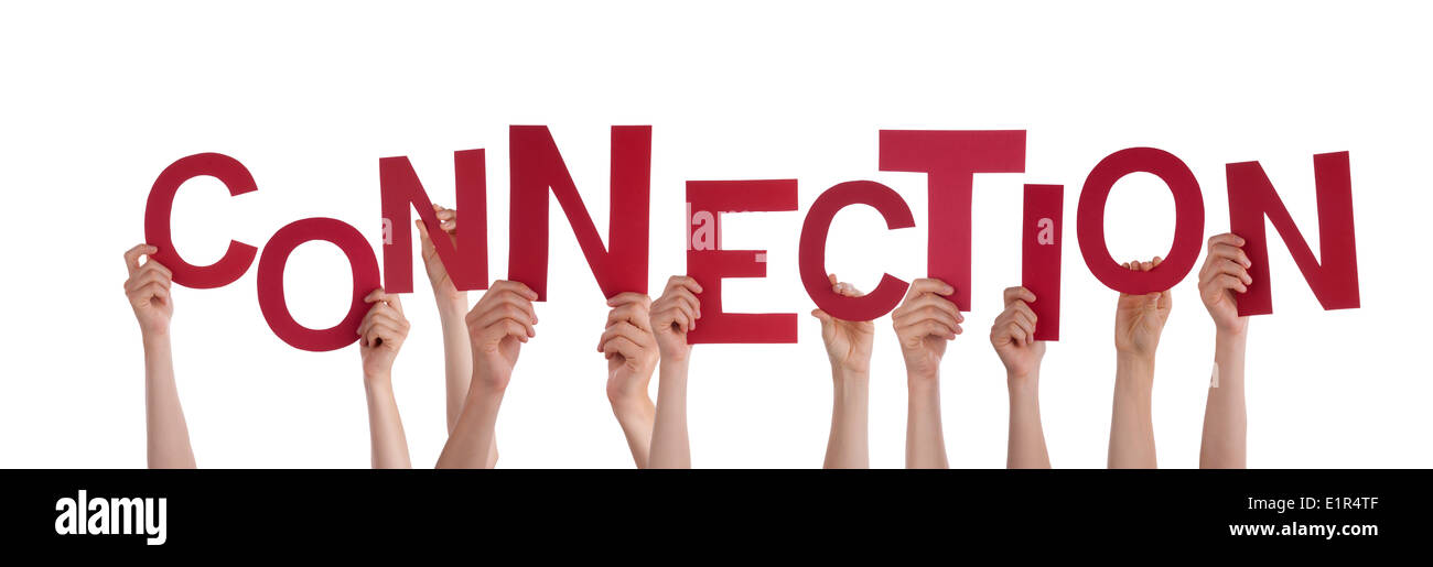 Many Hands Holding the Red Word Connection, Isolated Stock Photo ...