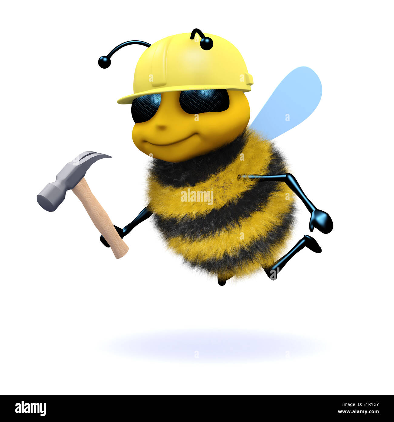 3d honey bee construction worker stock photo royalty free image