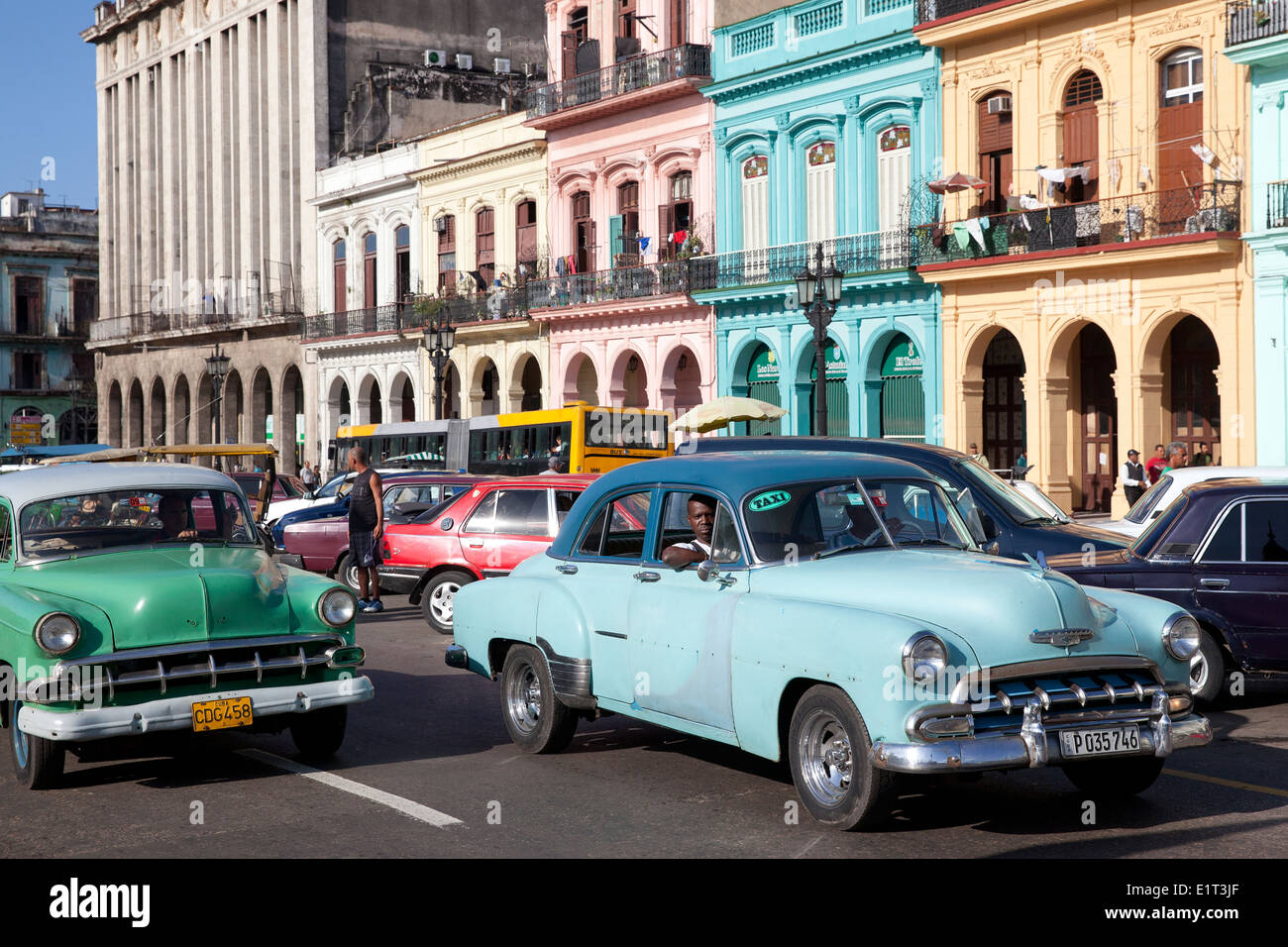Classic Cars And City View Havana Cuba Stock Photo Royalty Free
