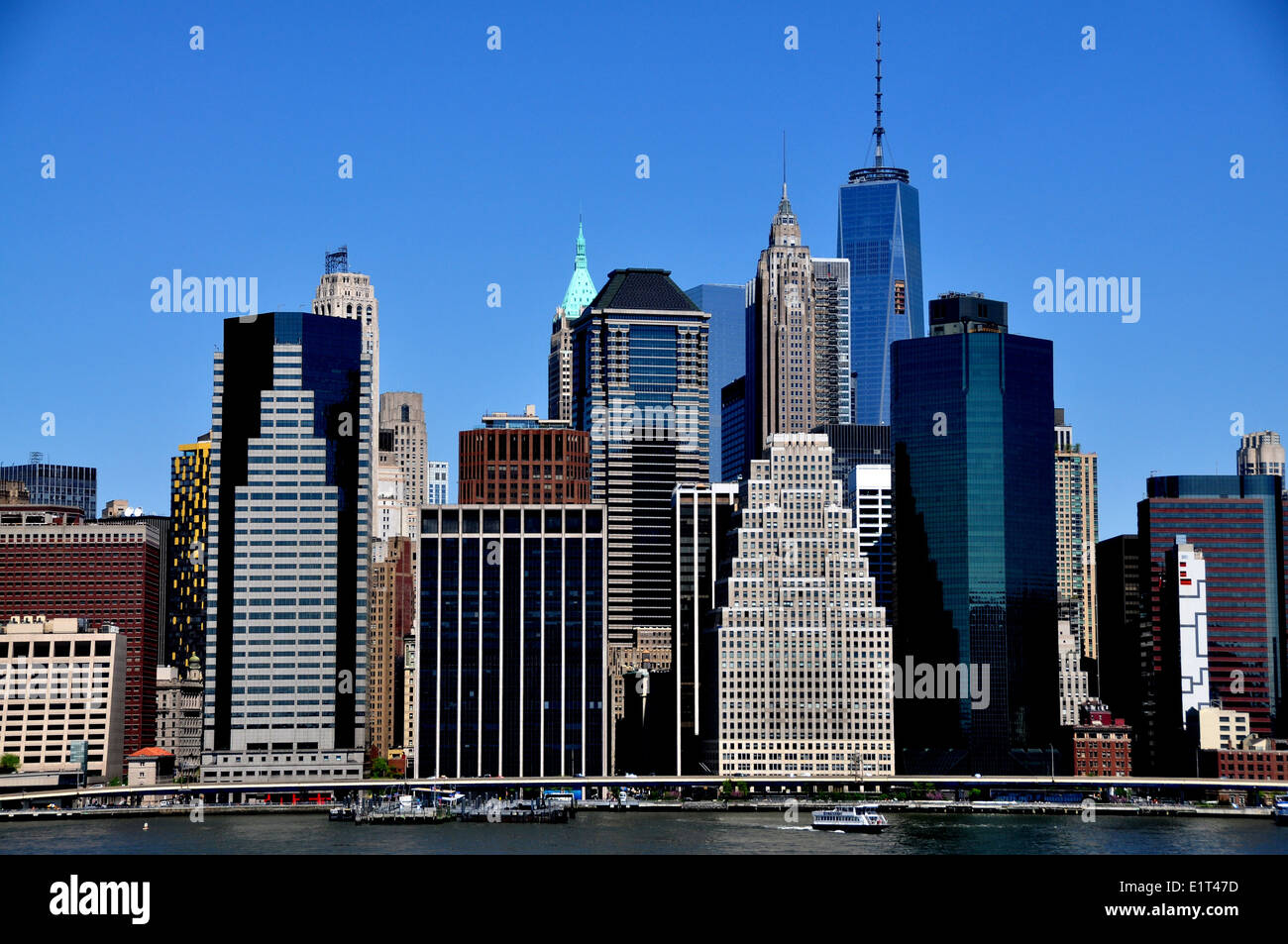 Nyc View Of Lower Manhattan Skyscrapers In The Wall Street Area Seen Stock Photo, Royalty Free