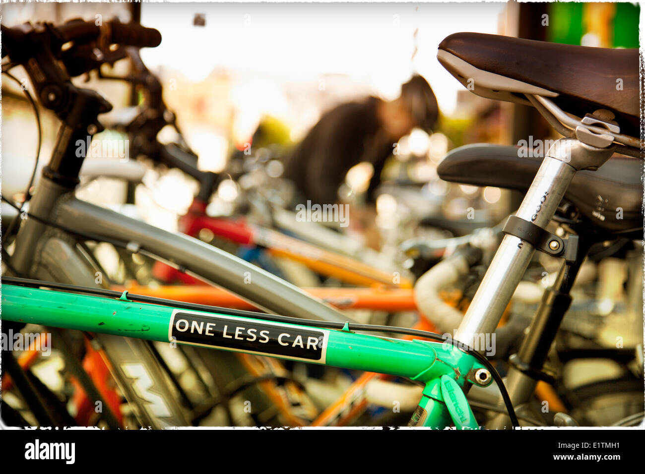 Bumper Sticker On Bycycle One Less Car Stock Photo Royalty Free