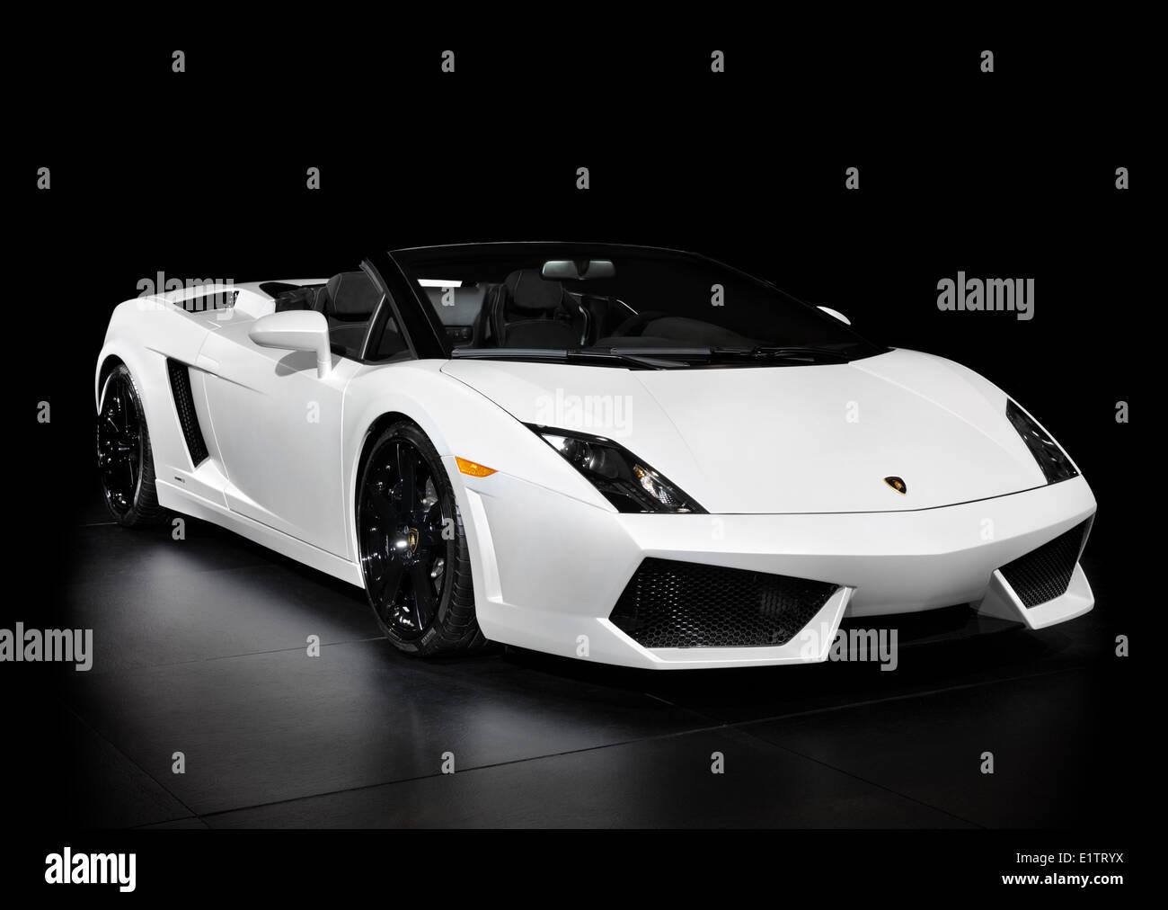White Lamborghini Gallardo LP5604 Spyder super car isolated on