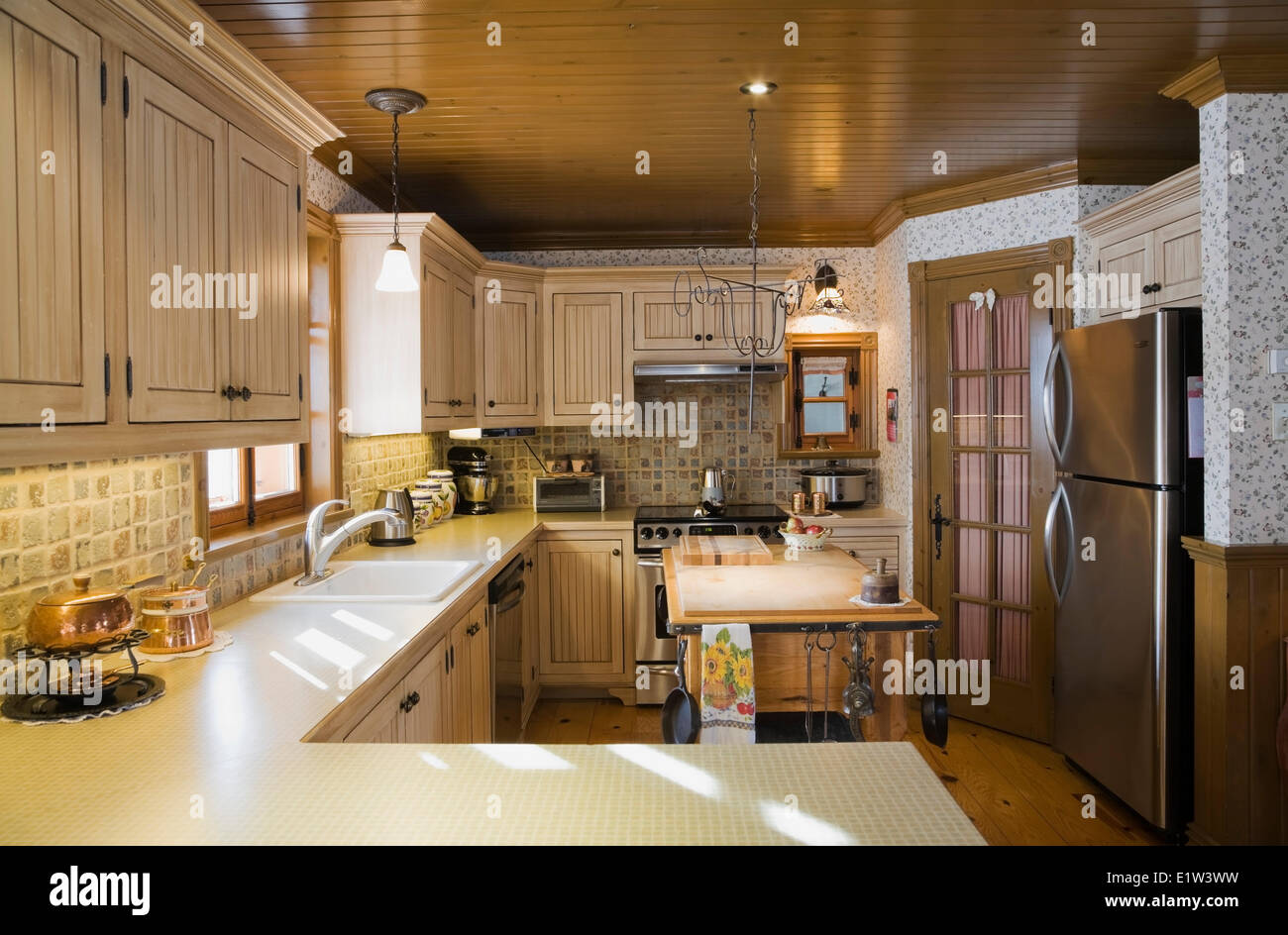 Country Style Kitchen Inside A Canadiana Cottage Fieldstone Residential Home Built To Look Old In 2002 Lanaudiere Quebec