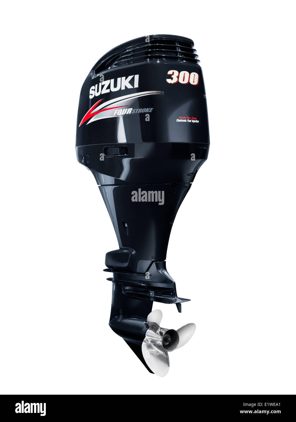 Suzuki 300 outboard boat motor four stroke engine isolated on white background with clipping path