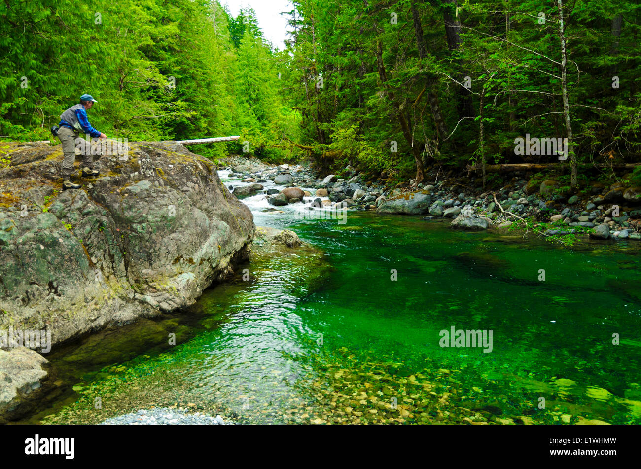 Man fly fishing vancouver island stamp river british for Vancouver island fishing