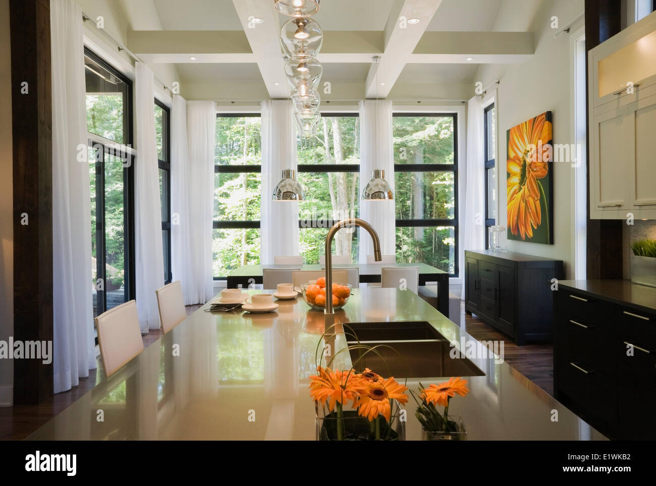 Kitchen And Dining Room Inside An Upscale Residential Home Quebec Canada This Image Is Property Released PR0187