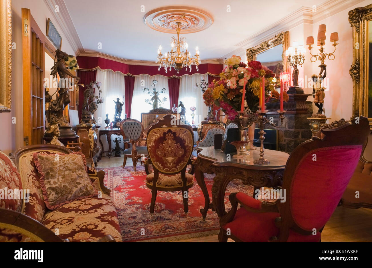 Antique Furniture Furnishings Adorn A Living Room Inside Victorian Mansion Quebec Canada This Image