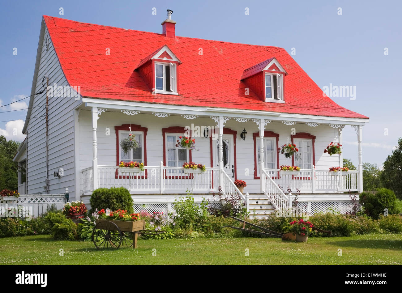 White With Red Trim Old Canadiana Cottage Style