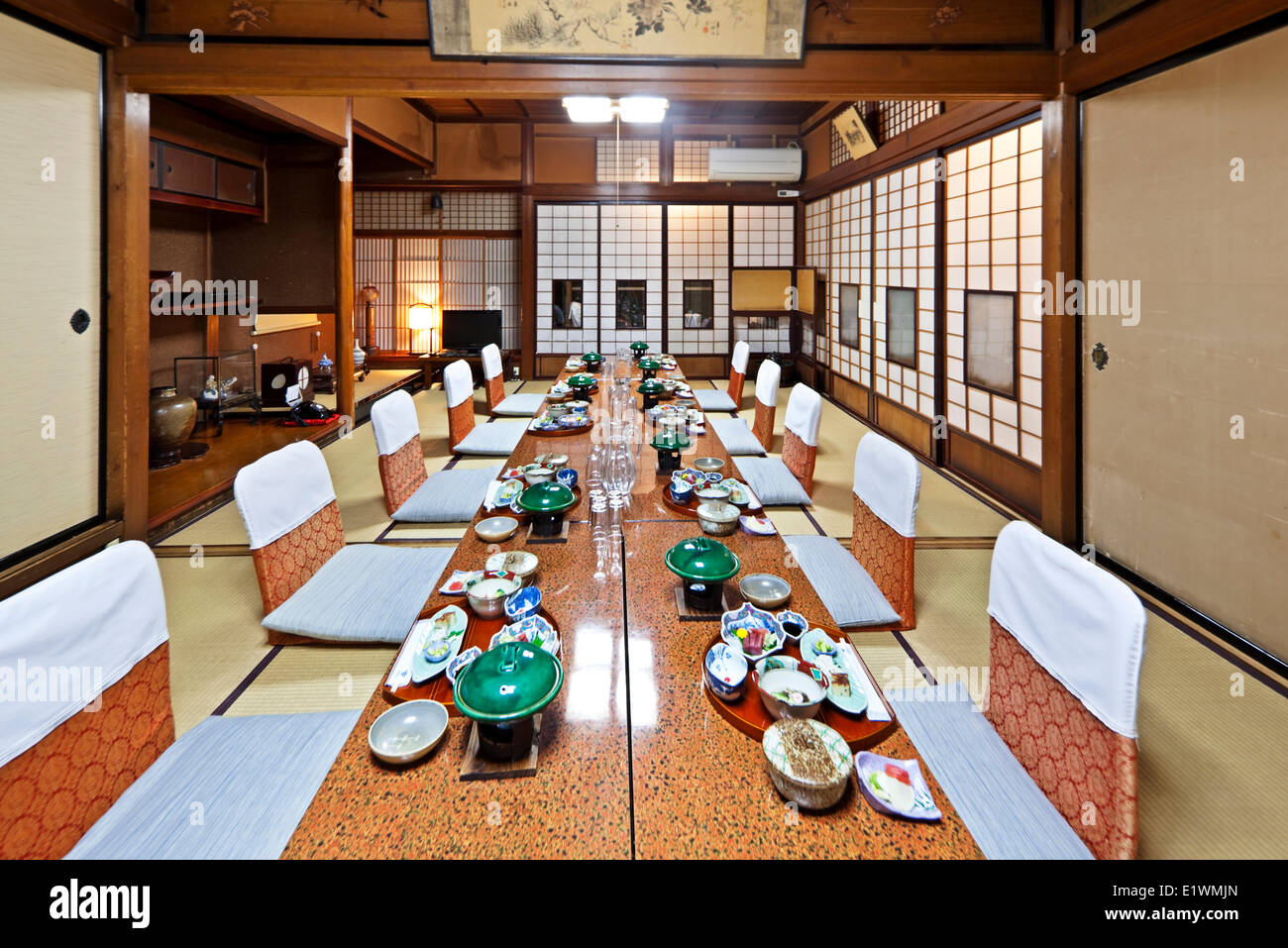 Traditional Japanese Dining Room traditional japanese-style dining room for guests staying at stock