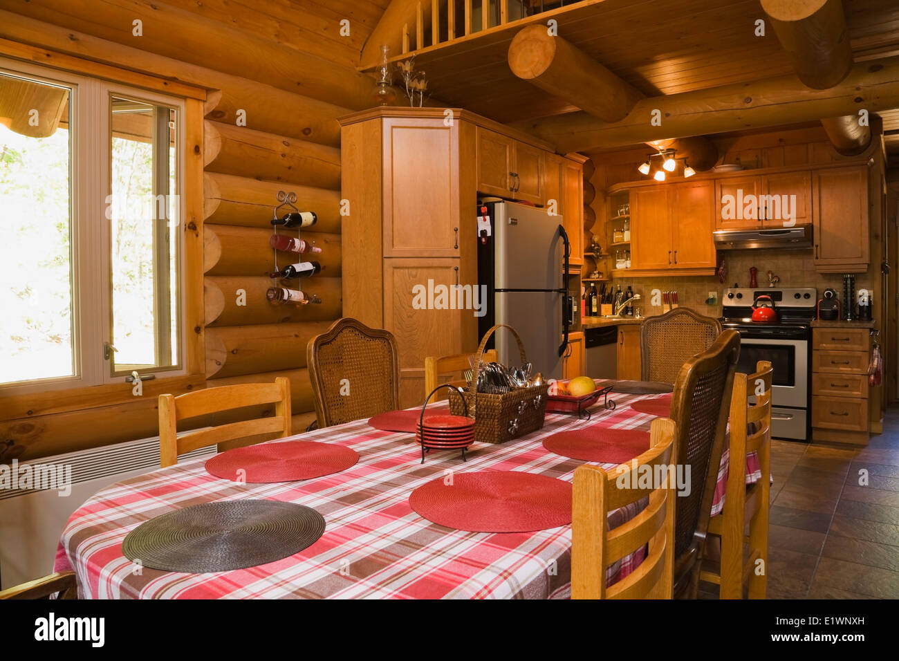 Dining Room Table Kitchen Inside A Residential Log Home Laurentians Quebec Canada This Image Is Property Released CUPR0211