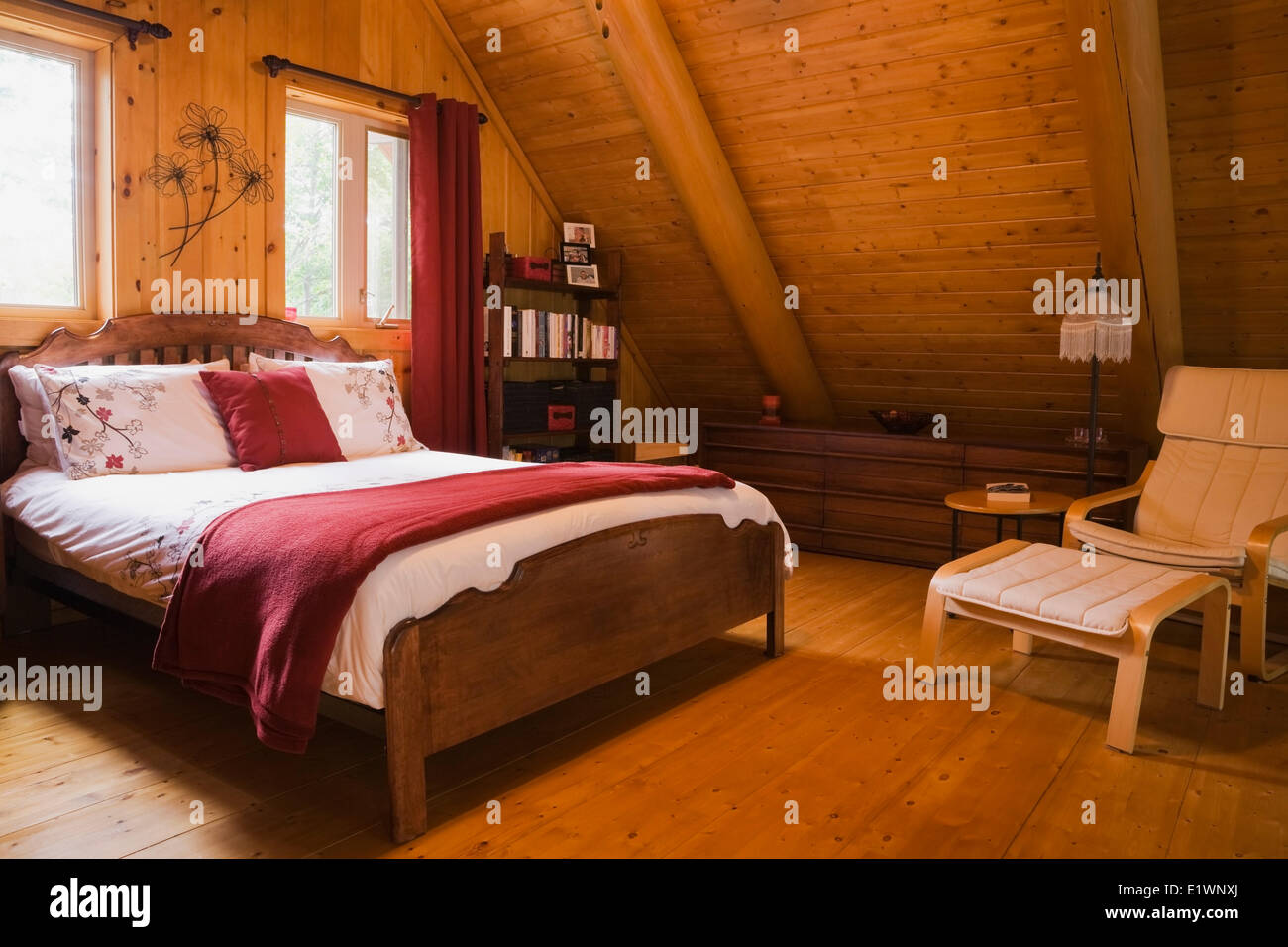 Quebec Bedroom Furniture Master Bedroom On The Upstairs Floor Inside A Residential Log Home