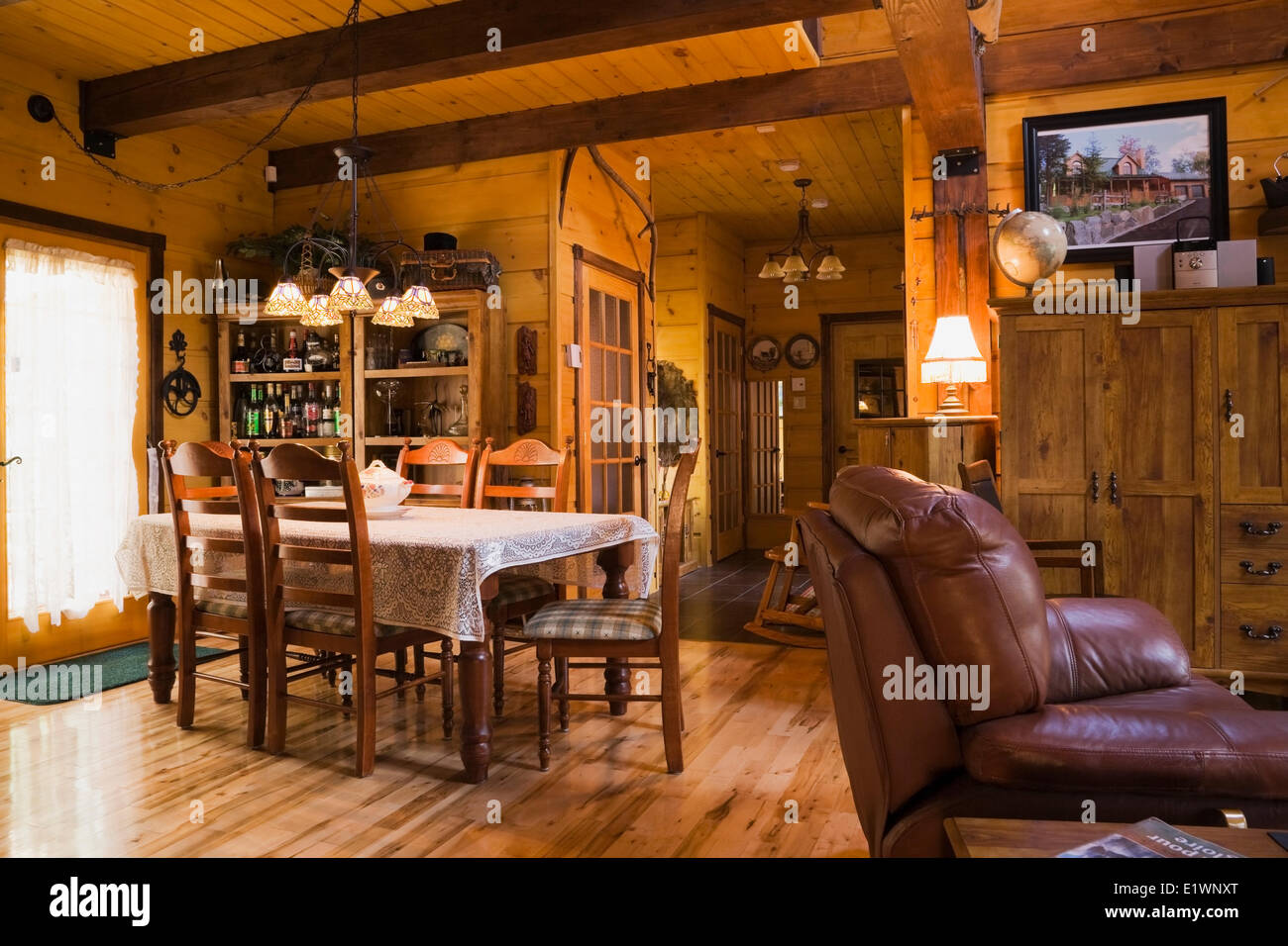 Dining Room Inside A Canadiana Cottage Style Residential Stacked White Pine Log Home Quebec Canada This Image Is Property