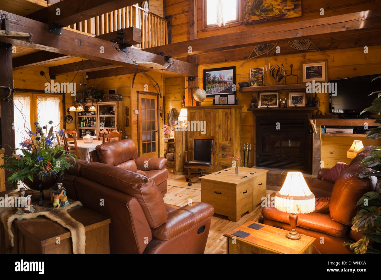 Living Room Inside A Canadiana Cottage Style Residential Stacked White Pine Log Home Quebec Canada This Image Is Property