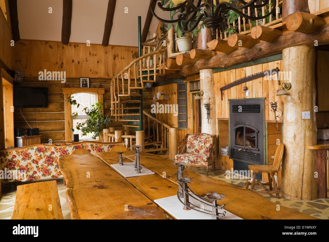 View The Dining Room Table Area Inside A Rustic Cottage Style Residential Log Home Quebec Canada This Image Is Property