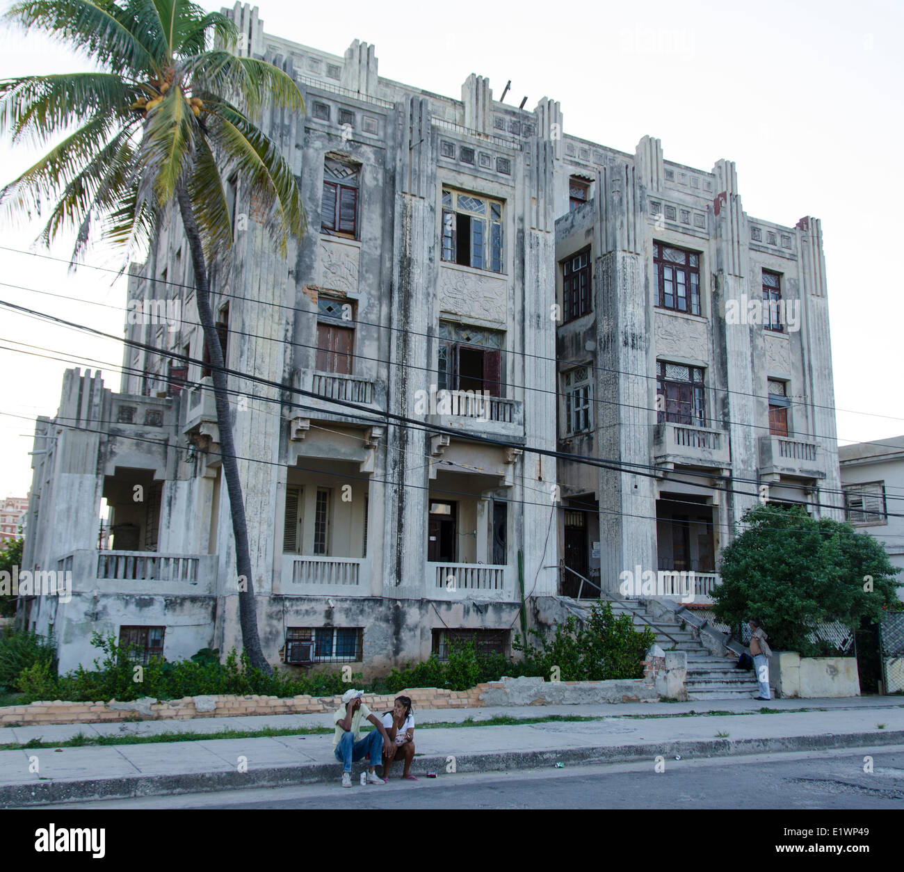 Old Art Deco Apartment Building In Vededo Havana Cuba Stock