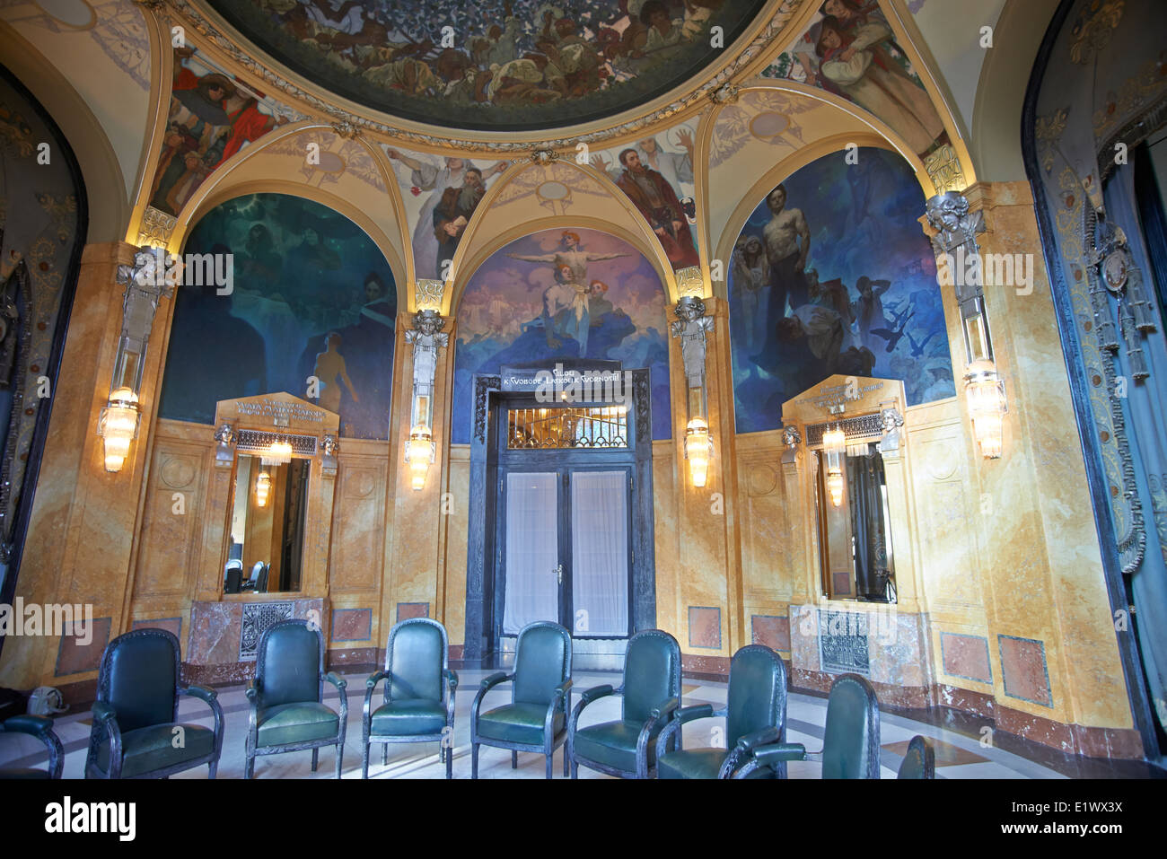 Ceiling decoration murals in lord mayor 39 s hall in for Art nouveau mural