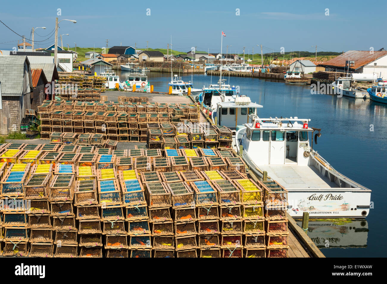 Fishing boats and lobster traps, North Lake, Prince Edward Island Stock Photo, Royalty Free ...