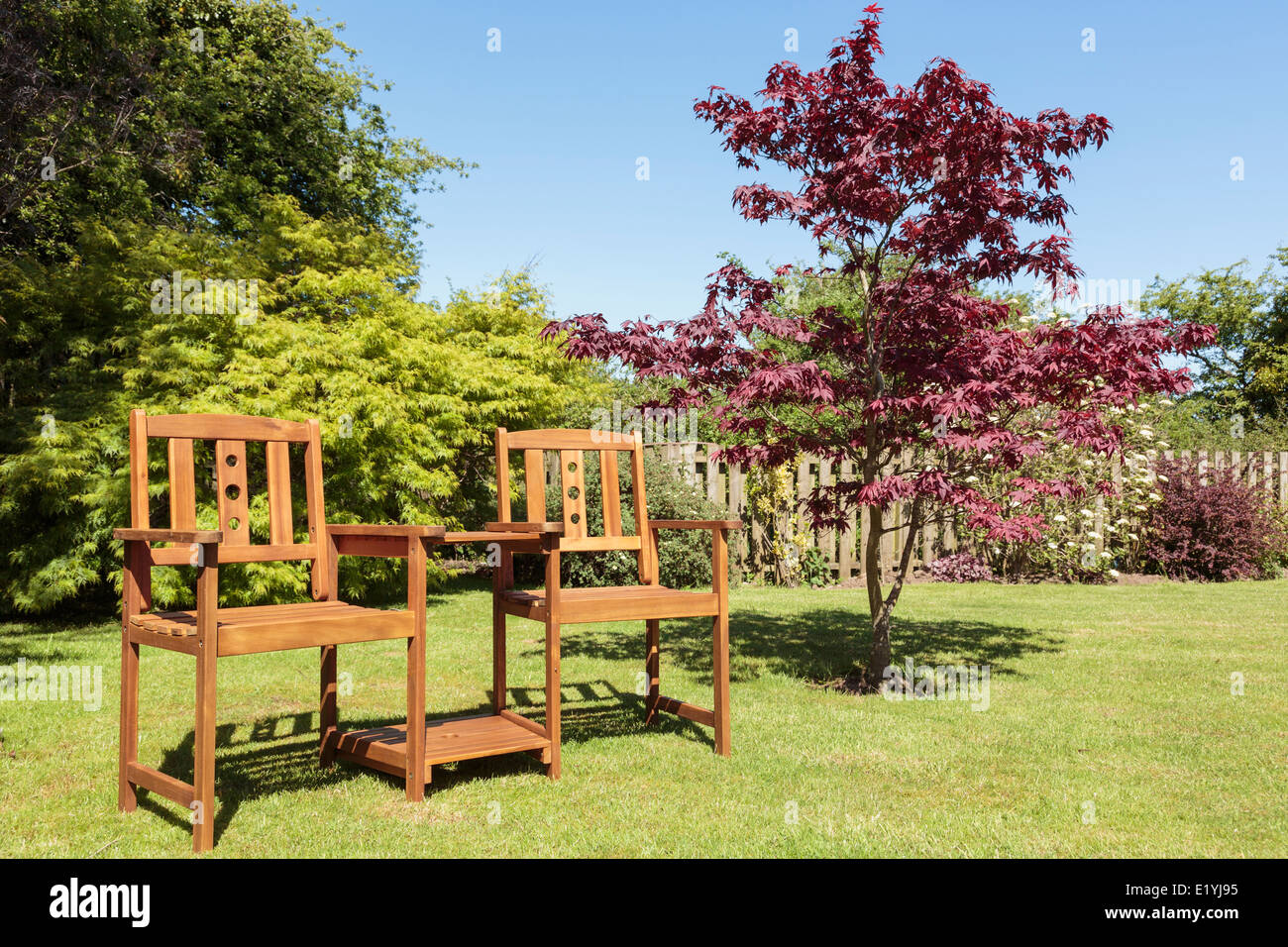 Garden chairs gt ascot teak garden companion seat bench garden tete - Wooden Companion Seat Or Love Bench With A Table Between Two Seats