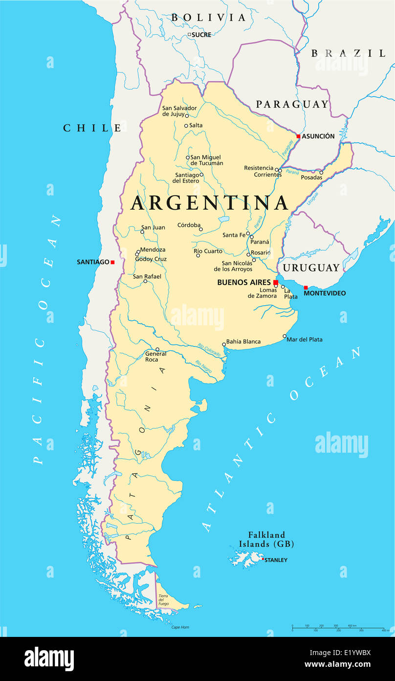 Argentina Political Map With Capital Buenos Aires National - Map argentina