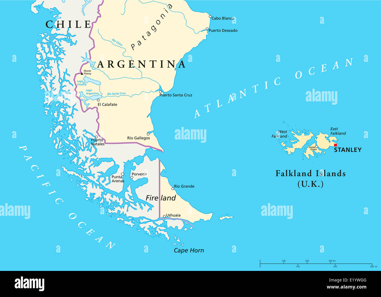 Falkland Islands Political Map and part of South America with