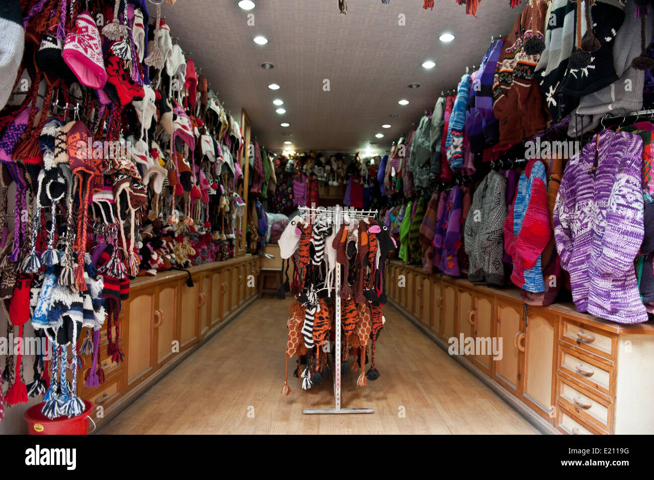 view inside a clothing and hat store in kathmandu nepal stock photo royalty free image. Black Bedroom Furniture Sets. Home Design Ideas