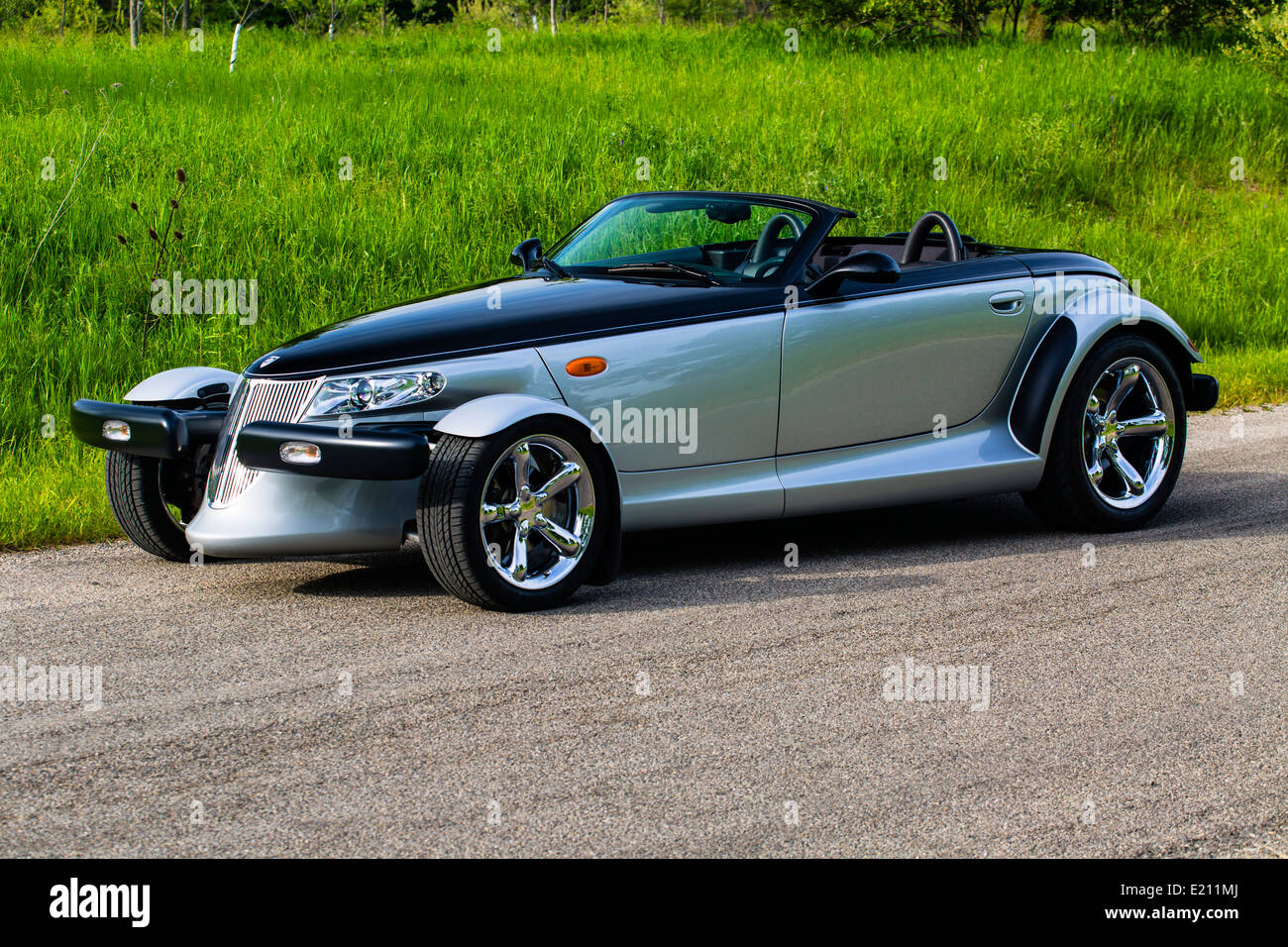 2001 plymouth prowler black tie edition on pavement stock image