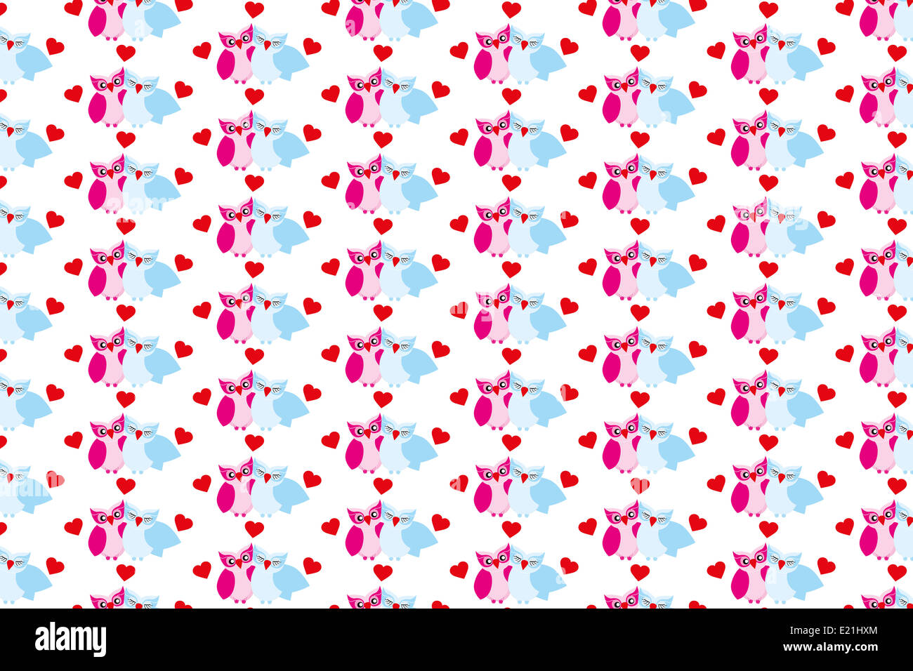texture with owls and hearts pattern for kids fabric stock photo