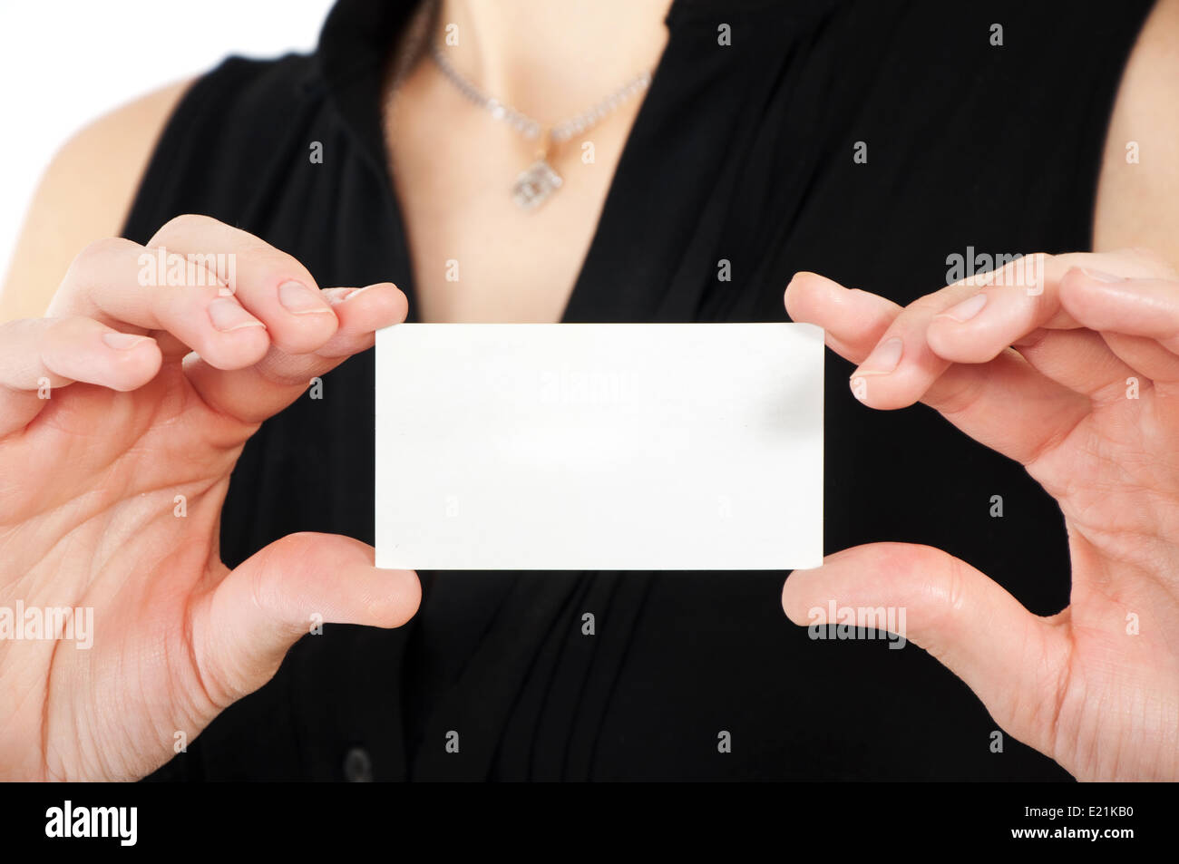 Woman hand holding business card Stock Photo, Royalty Free Image ...