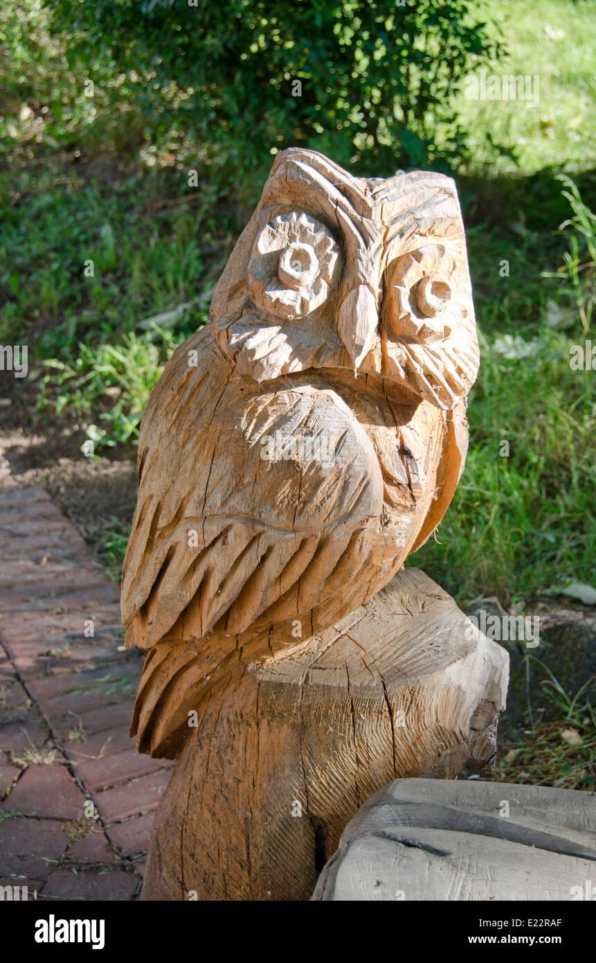 Wooden Carved Owl In Summer City Garden