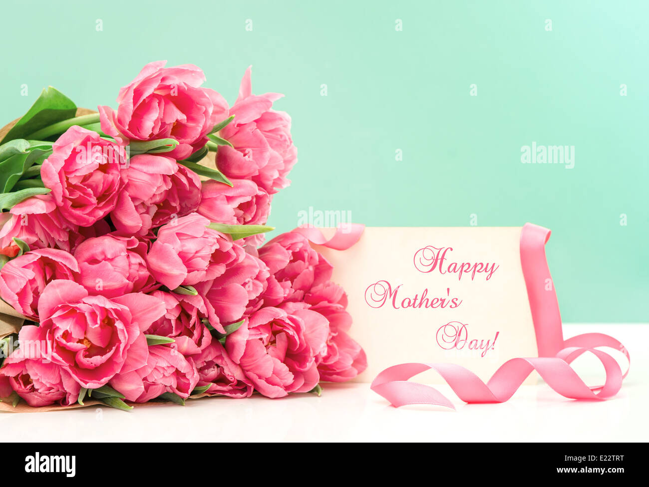 Pink tulips and greeting card with sample text happy mothers day pink tulips and greeting card with sample text happy mothers day kristyandbryce Choice Image