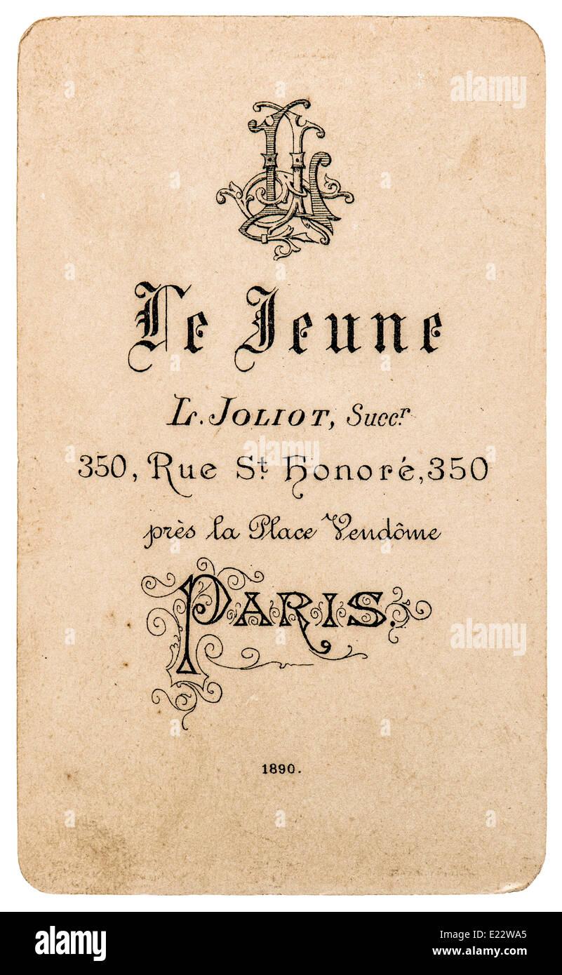 antique french carte de visite from 1890. rare vintage business ...