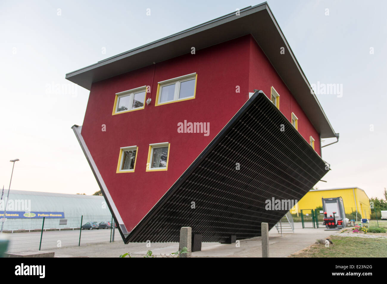 Red upside down house in Rügen, Germany as tourist attaction Stock ...