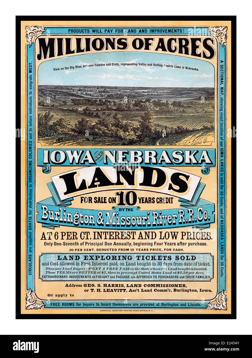 19th century vintage poster promoting land ownership in for Lenders for land purchase