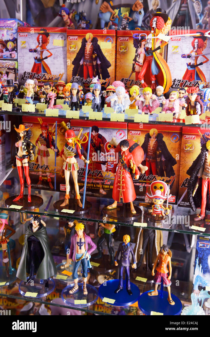 Anime Action Figures On A Store Display In Tokyo Japan