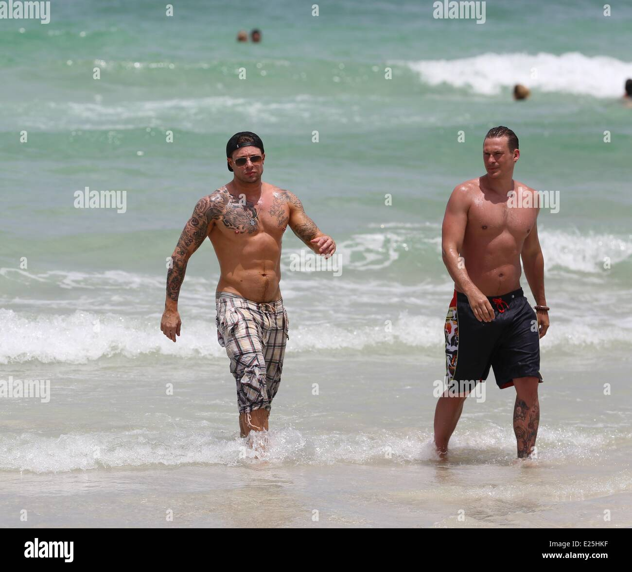 Duncan james and lee ryan from blue on holiday at nikki beach resort on miami beach featuring lee ryanduncan james where miami florida united states
