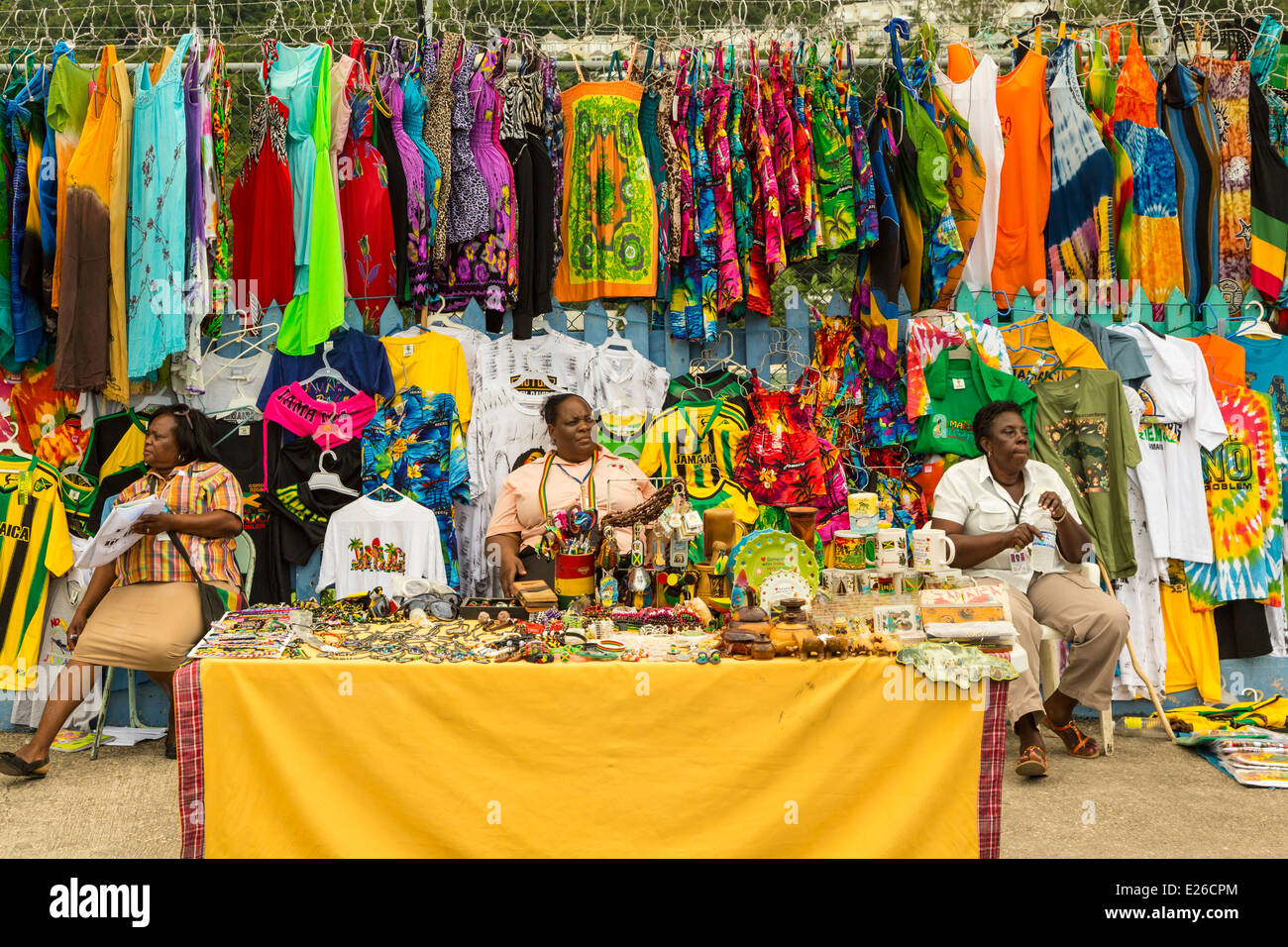 Souvenirs for sale at the port of ocho rios jamaica stock for Jamaican arts and crafts for sale