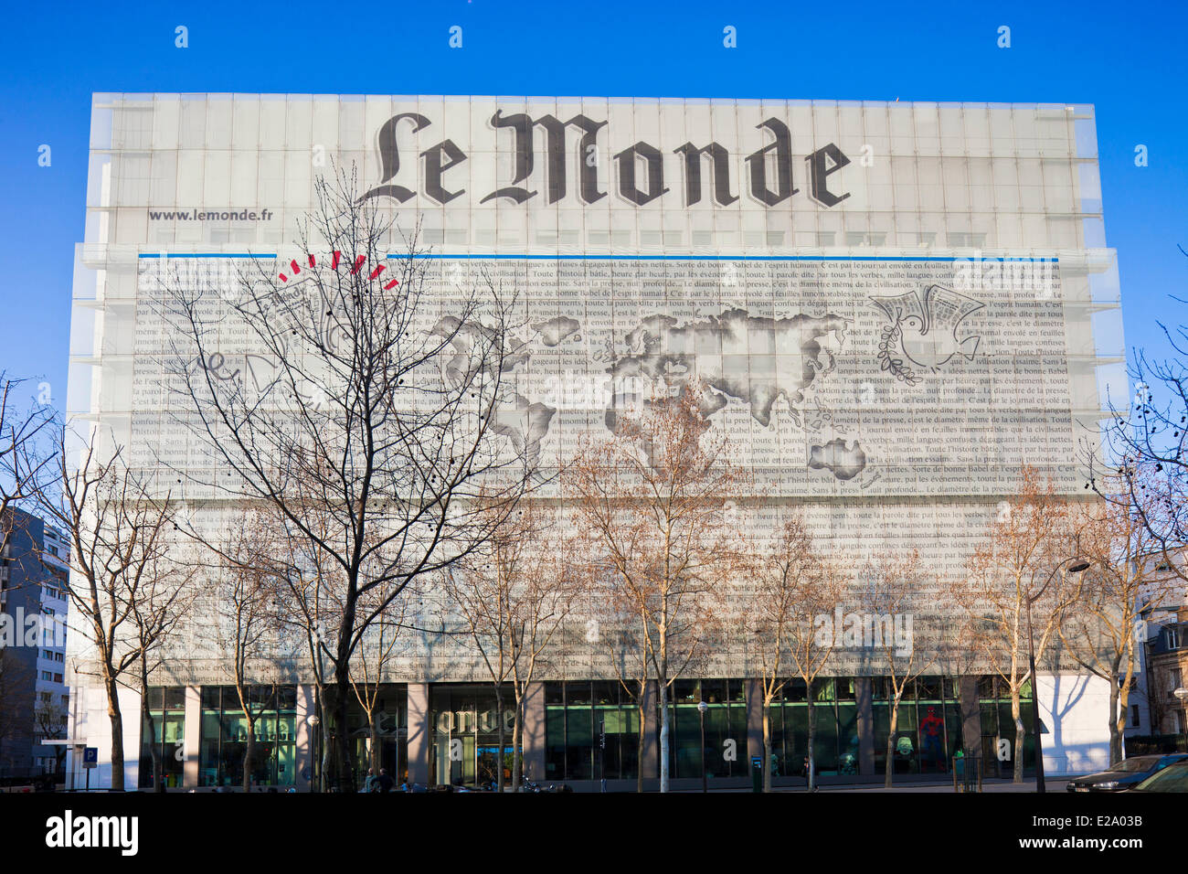 france paris headquarters of the daily le monde by architect stock photo royalty free image. Black Bedroom Furniture Sets. Home Design Ideas