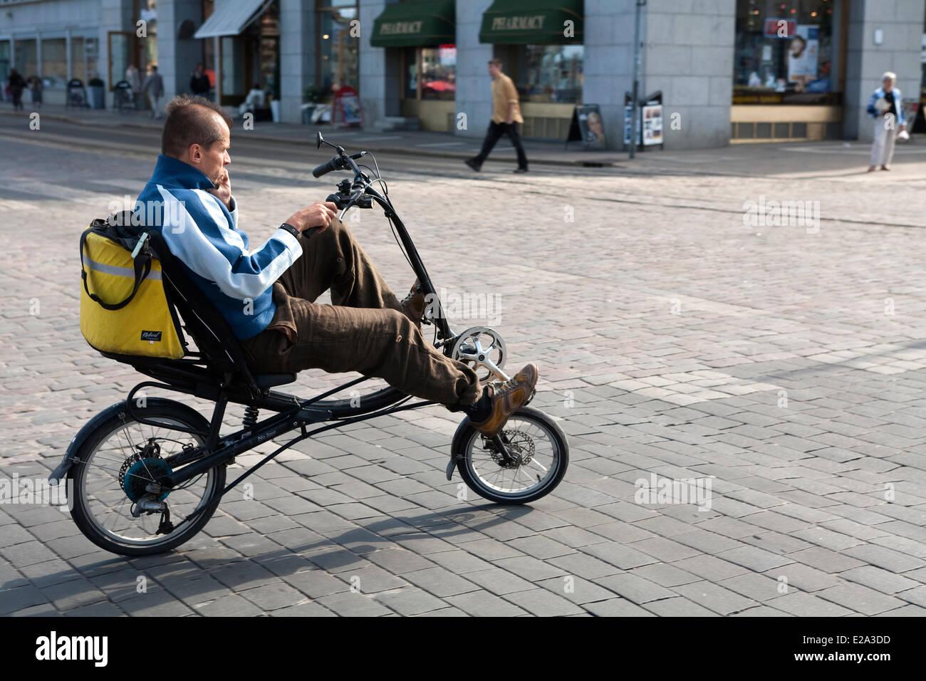 Finland Helsinki Semi Recumbent Bike Ride In The City Center